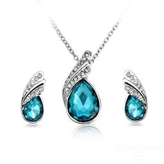 Crystal Water Drop Necklace Earrings Jewelry Set Silver Plated Jewelry at Banggood