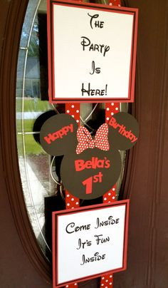 Personalized Minnie Mouse Birthday Door Banner - Hanger Red, White & Black. $32.00, via Etsy.