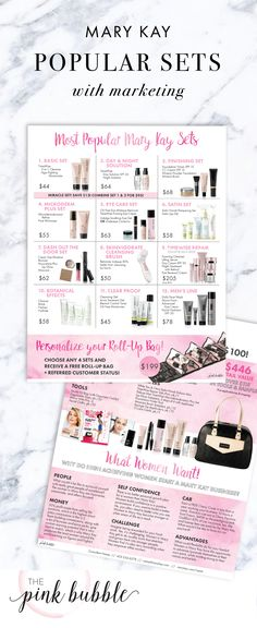 Most Popular Mary Kay Sets with Marketing! Find it only at www.thepinkbubble.co!