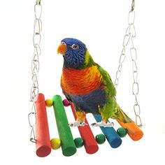 Sunny Parrots Colorful Wooden Toy With Bell Pet Bird Rotated Climbing Ladder Swing Hanging Toy Small Parrot Wooden Cage Decortion Bird Toys
