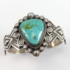 """Sterling Silver Cuff Bracelet set with Natural Royston Turquoise and with Stamped and Applique Designs. 1.75"""" Cuff Width 5.375"""" Inside Measurement, plus 1"""" opening (6.375"""" Total Circumference - Small-"""
