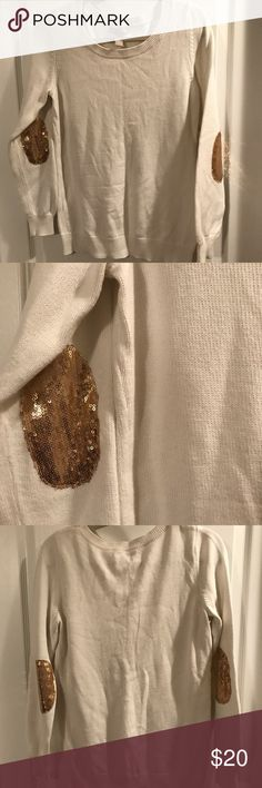 Banana Republic sequin elbow patch sweater Worn a handful of times, great condition! Actual BR, not factory/outlet. Banana Republic Sweaters Crew & Scoop Necks