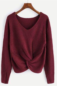 132652fe5ef Knotty Front V Neck Fall  sweater Fall Capsule Wardrobe Fall Fashion  MinimalCapsule.com