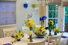 Blue and yellow floral - Roses - Hydrangea - Centerpieces - Elegant - PC: David Michael Photography - Design by www.DBCreativity.com