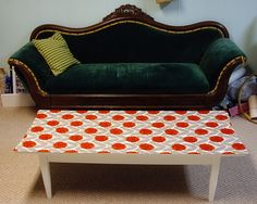 coffee table w/ fabric and modge podge