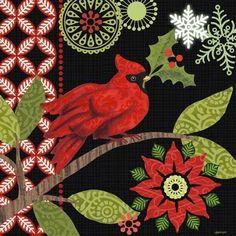 Cardinal Holly-black by Jennifer Brinley | Ruth Levison Design