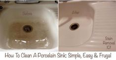 Here's such a dramatic difference between the before and after pictures from a reader, Dayna's vintage sink. And do you know who helped her figure out