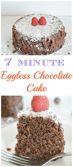 Amazingly delicious moist Chocolate cake prepared with 7 ingredients and baked for 7 minutes in microwave and to top that it's EGGLESS.