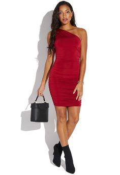 bb746c722 ONE SHOULDER RUCHED DRESS - ShoeDazzle Ruched Dress, Shoe Dazzle, Shoes  Online, One