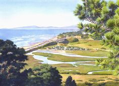 View From Torrey Pines Del Mar by Mary Helmreich ~ watercolor coastal California