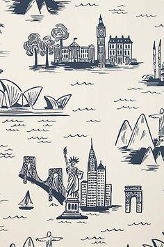 Cities Toile Wallpaper - anthropologie.com