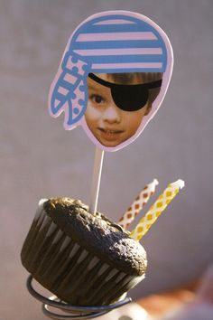 Pirate Party Decorations Toppers and Tags: Your Child's Pirate Head (DIY Printable). $10.50, via Etsy.