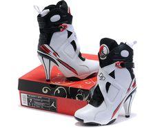 2f60cf105ff1 Women Air Jordan 8 High Heels White Black Jordan Heels