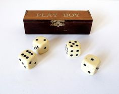 Casino Dice with Wooden Box Dice Games Playboy by EnglishOldSchool