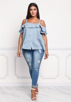 Plus size clothing plus size pinstripe cold shoulder blouse debshops plus s Big Girl Fashion, Curvy Fashion, Plus Size Fashion, Xl Mode, Mode Plus, Plus Size Dresses, Plus Size Outfits, Curvy Outfits, Fashion Outfits