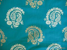 Paisley Block Printed Indian Cotton Fabric by by theDelhiStore