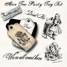 Digital Tag Kit Alice Tea Party - Toner/Ink Friendly - Instant Download - For Tag Journal and Scrapbook Paper Craft. $2.98, via Etsy.