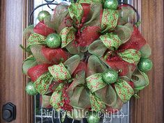 Red & Green Traditional Christmas Mesh Wreath by lesleepesak, $70.00