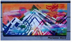 Chevron mountains original acrylic painting mari ward art on Etsy, $300.00