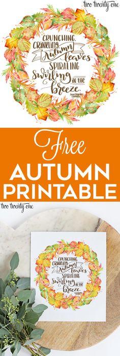 Free autumn printable! Free fall printable!