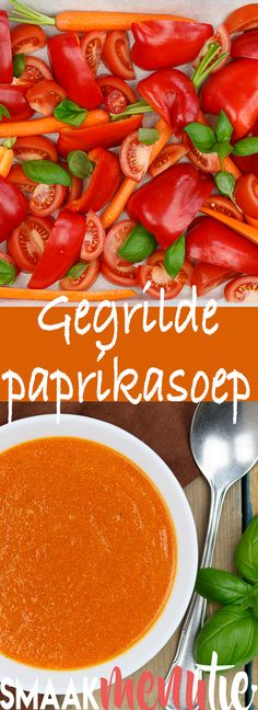 Gegrilde paprikasoep #recept #recipe #paprika #soep #soup #vegetarian #vegetarianrecipes #vegetarisch Stuffed Pepper Soup, Stuffed Peppers, Paprika Recipes, Soup Recipes, Vegan Recipes, Grilled Peppers, Veggie Soup, Food For Thought, Good Food