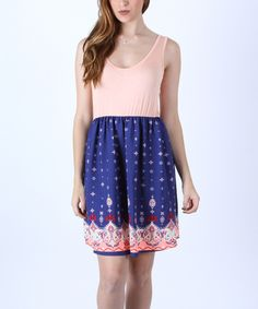 Look at this Collective Rack Blue & Pink Paisley Skater Dress on #zulily today!