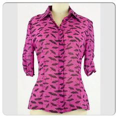 Very Batty Button-Up Top Gorgeously unique collared top, another token of the plasticland boutique. :) Covered in batwing umbrellas (but you only see the wings from a distance)! Bought for my mom but she couldn't fit it. :( So, like new condition, never worn out! Fits a S also. Looks great w/the Gianni Bini spike heels & white cropped pants! **No trades** Plasticland Tops Button Down Shirts