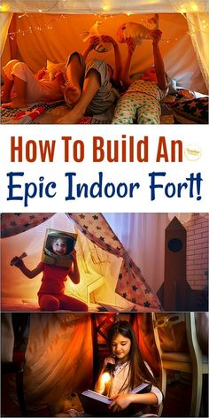 Check out these fantastic ideas for how to build an epic indoor fort your kids will go crazy for! Fort Building Kit, Build A Fort, Indoor Forts, Indoor Play, Summer Activities For Kids, Indoor Activities, Family Activities, Children Activities, Cool Forts
