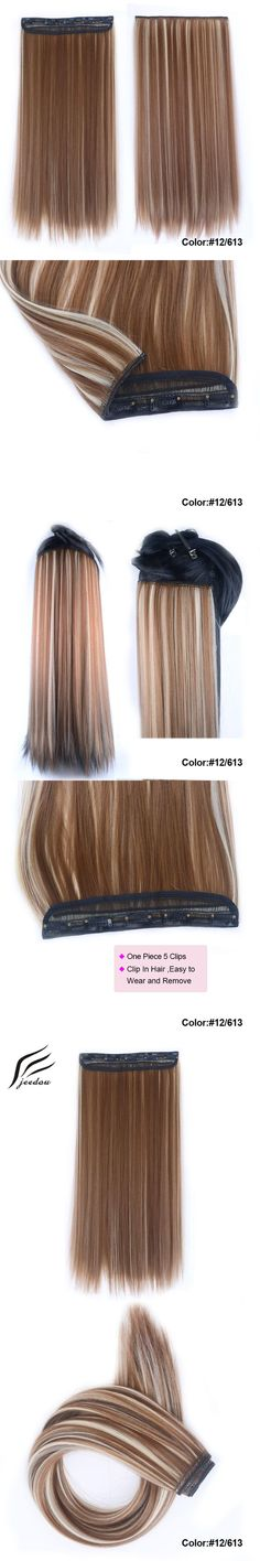 "jeedou Clip In On Hiar Extension 24""60cm 120grams Mix Brown Blond Color Hiarpiece Long Straight Synthetic Women's Flase Hiar"