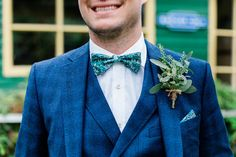 Groom wears a blue checked suit with green patterned bow tie. Images by Gemma Giorgio Wedding Ties, Wedding Blog, Floral Wedding, Wedding Flowers, Ted Baker Suits, English Country Weddings, Bride Suit, Green Bow Tie, Checked Suit
