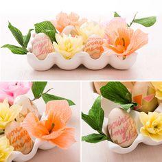 Wielkanocna dekoracja - kwiaty z bibuły
