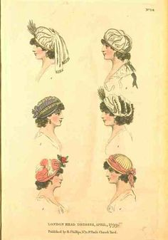damesalamode:    Fashions of London and Paris, London Head Dresses, April 1799.   These are adorable little things!