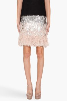 Matthew Williamson Ombre Skirt: grey, black, ivory and tan scales & feathers