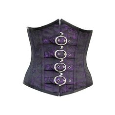 CD-556 Purple and Black Brocade Pattern Underbust with Buckles ❤ liked on Polyvore featuring accessories, belts, corsets, tops, purple belt and buckle belt