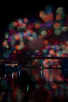 "Fireworks Over The Bridge Called ""α-BASHI"", Japan"
