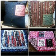 Keepsake pillows, USA quilt & Breast cancer tshirt quilt Breast Cancer, Warm, Quilts, Pillows, Usa, T Shirt, Supreme T Shirt, Tee Shirt, Quilt Sets