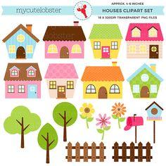 Buy Now Little Houses Clipart Set - house clip art set flowers. House Clipart, House Vector, Pastel House, Tree Images, Clip Art, House Illustration, Cute House, House Drawing, Little Houses