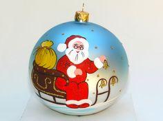 "Hand Painted Glass Ball Christmas Ornament "" Santa Claus"""