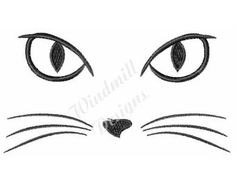 Cat face - machine embroidery design - This is a machine embroidery design digital pattern / file to be used with your embroidery machine. Machine Embroidery Patterns, Hand Embroidery, Rock Painting Designs, Cat Crafts, Cat Drawing, Cat Tattoo, Cat Face, Embroidery Techniques, Digital Pattern