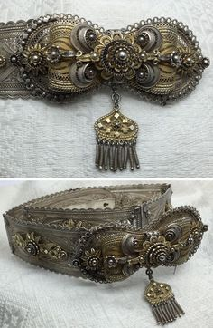 Belt of late Ottoman woman, from Macedonia. Silver filigree work, partially gilded, Turkish baroque style & # (Private collection of Peter Hoesli). Tribal Jewelry, Indian Jewelry, Ancient Jewelry, Antique Jewelry, Silver Belts, Silver Jewelry, Turkish Jewelry, Baroque Fashion, Silver Filigree
