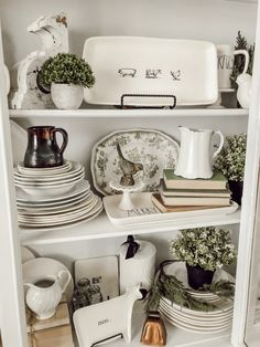 Styling a Farmhouse Hutch with Antiques and Vintage Finds Antique Decor, Vintage Decor, Antique Farmhouse, Farmhouse Decor, White China Cabinets, China Hutch Makeover, Hoosier Cabinet, Old Plates, Dining Room Hutch