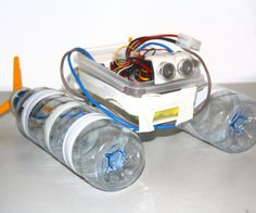 This will show you how to build a robot boat from cheap and easy to use materials, I think it is also a good example of reusing water bottles. I used two water bottles, polymorph plastic, two motors and propellers, tape, a box, a battery and a motoruino (Arduino clone designed to work with motors, servos and sensors).