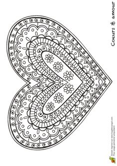 Patterned, Shapes, Doodle, Zentangle Inspired Heart ♥ Coloring Page Mandala Coloring Pages, Coloring Book Pages, Printable Coloring Pages, Coloring Sheets, Doodles Zentangles, Heart Art, Free Coloring, Embroidery Patterns, Valentines Day