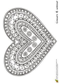 Kleurplaat voor #moederdag | coloring page for #Mother's day | coeur #mandala geometrique
