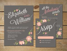 Romantic Floral Wedding Invitation Set // DIY Printable // Pewter Gray, Peach and Blush Pink on Etsy, $60.00