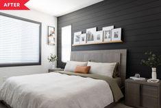 Charcoal Bedroom, Charcoal Walls, Accent Wall Bedroom, Bedroom Decor, Bedroom Ideas, Accent Walls, Bedding Decor, Bedroom Layouts, Bedroom Inspiration