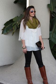 green circle scarf, white blousy top, dark skinnies, tall boots