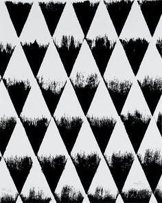 Black & white pattern with stamped triangles, geometric print design // Patrick Saytour