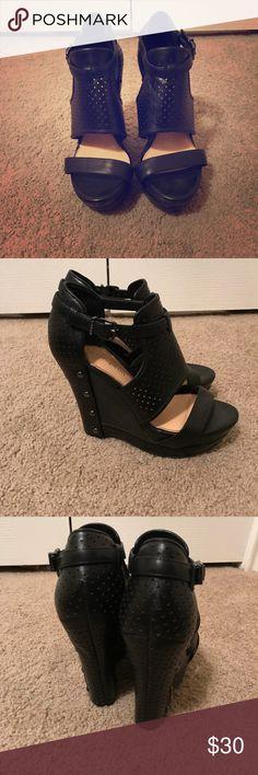 Gianni Bini black wedges Gianni Bini size 7.5 black leather wedges. Lightly worn. Shoes Wedges