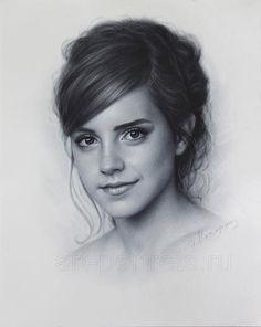 Emma Watson Drawing Portrait by Dry Brush Technique Portrait Sketches, Art Drawings Sketches, Pencil Portrait, Drawing Portraits, Harry Potter Sketch, Harry Potter Drawings, Photo Portrait, Portrait Art, Emma Watson Sketch